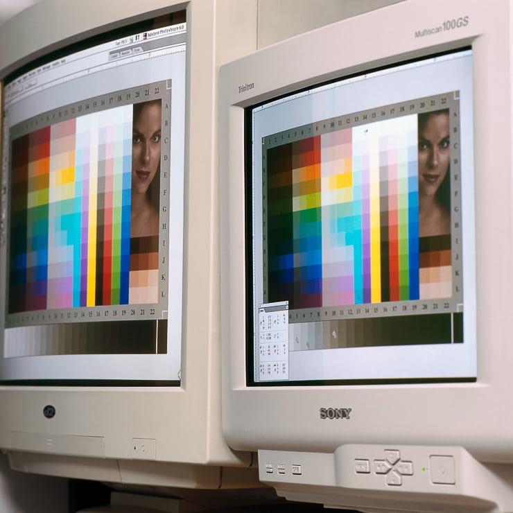 Old CRT display monitors